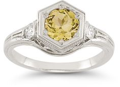 applesofgold.com - Roman Art Deco Citrine and White Topaz Ring in .925 Sterling Silver