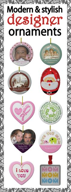 Lots of stylish and modern Christmas tree orament designs each of them in seven shapes. #ornaments, #Christmasornaments