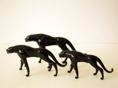 Black Glass Pumas or Cougars set of 3 by xFuNDax on Etsy, $55.00