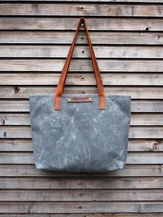 Waxed canvas bag/ carry all with  leather handles by treesizeverse on Etsy https://www.etsy.com/listing/115907677/waxed-canvas-bag-carry-all-with-leather