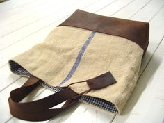 Leather and Linen bag...gingham lining