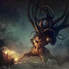 Borja Pindado deviantart ilustrações sombrias terror cósmico lovecraftiano HP Lovecraft mitos Cthulhu - Dark Young