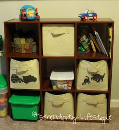 Help organize by stenciling images on fabric cubes by closetmaid.