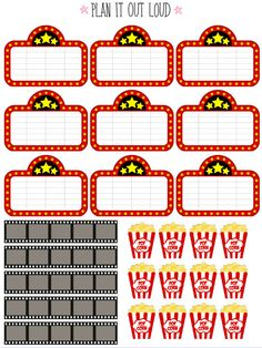 Movie stickers planner stickers by PlanItOutLoud on Etsy