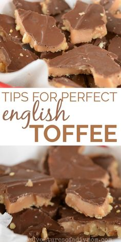 Tips for best English toffee. This toffee is crisp, yet it almost melts in your . Tips for best English toffee. This toffee is crisp, yet it almost melts in your mouth. Its buttery and sweet. Toffee Candy, Toffee Bars, Caramel Candy, Holiday Baking, Christmas Baking, Nordic Christmas, Modern Christmas, Fudge Recipes, Cookie Recipes