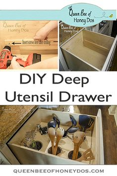 See how easy it is to create this custom utensil organizer from Queen Bee of Honey Dos! Small Drawer Organizer, Utensil Drawer Organization, Kitchen Cabinet Organization, Kitchen Drawers, Drawer Organisers, Kitchen Organization, Kitchen Organizers, Organized Kitchen, Organizing