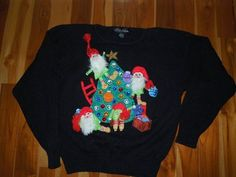 Ugly Christmas Sweater 3D Santas Elves SZ M  Bling Jeweled #Ugly #Crewneck