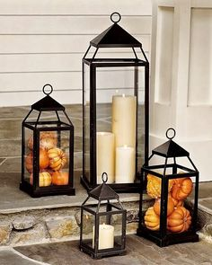 Lantern, Bronze Finish, Small Fall Decor - Front Porch Lanterns Filled with Mini Pumpkins and Gourds.Fall Decor - Front Porch Lanterns Filled with Mini Pumpkins and Gourds. Halloween Veranda, Casa Halloween, Halloween Party, Modern Halloween, Outdoor Halloween, Fall Home Decor, Autumn Home, Diy Autumn, Autumn Ideas