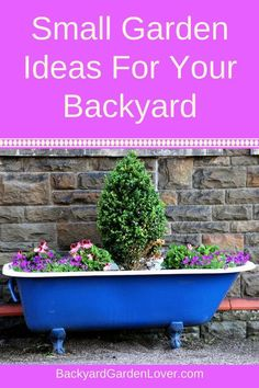 Are you craving a garden of your own, but don't have enough space? Here are some small garden design ideas that will help you grow some veggies and flowers in your backyard, front yard, side yard, balcony or patio. Turn any small corner into a low maintenance, no grass, haven for yourself. #smallgarden #gardening #lowmaintenancegarden #backyard #gardendesign  #gardenideas