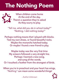 The Nothing Poem, Preschool poem