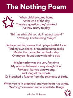 The Nothing Poem, Preschool poem