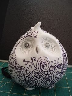 LOVE!!!    Hand Drawn Ceramic Owl #owl #ceramic #hand-drawn - Jane Monk Studio