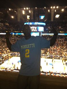 Milwaukee Brewer's Outfielder Nyjer Morgan supporting Marquette Basketball in Phoenix.