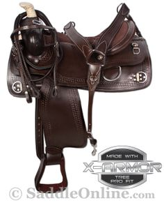 Dark brown training saddle offers the same comfort as our trail saddles and is equipped with numerous rings for training. Not only is this saddle nice to look at, it also offers rings for your accessories and training purposes as well as easy to adjust stirrups. The full, in-tree rigging offers stability, safety and strength.