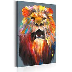 Bilder 60x90 cm - XXL Format - Fertig Aufgespannt – TOP - Vlies Leinwand - 1 Teilig - Wand Bild - Kunstdruck - Wandbild – Poster Tiere Löwe g-A-0101-b-a 60x90 cm