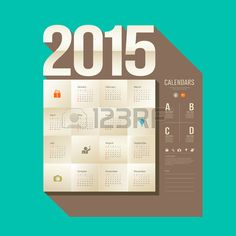 Kalender 2015 Origami-Papier quadratischen Design Stockfoto - 27359878