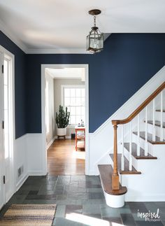 A look at my newly painted entryway. Color: Farrow and Ball Stiffkey Blue #entryway #painting #farrowandball #stiffkeyblue