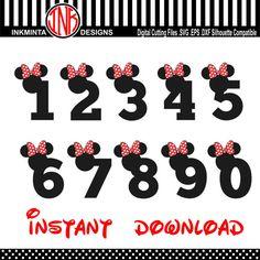 Minnie number svg Font ,Walt Disney numbers Font Alphabet Design, svg, eps, dxf No. 18