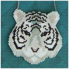 BASILE BLANC peyote or brick stitch tiger necklace