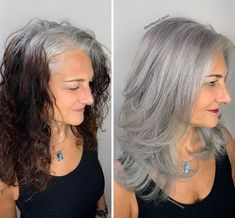Stylist shows gorgeousness of grey hair instead of covering it up Daniel Golz, White Hair Highlights, Grey Hair Transformation, Curly Hair Styles, Natural Hair Styles, Transition To Gray Hair, Silver Hair, Hair Looks, White Hair