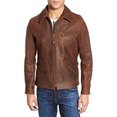 Schott NYC 'Sunset Delivery' Leather Jacket ($900) ❤ liked on Polyvore featuring men's fashion, men's clothing, men's outerwear, men's jackets and brown