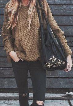 camel knit + black ripped jeans.