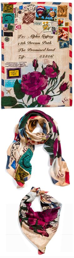 """The Gypsy post.  Soft luxury silk scarf rich with beautiful colorful collage of retro romantic images, unfold to wear in many beautiful layouts combinations.  100% Silk 150 X 93 cm 53.15″ x 36.6"""" Rolled hem finish"""