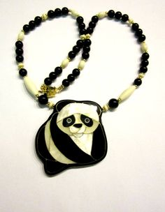 Panda Gemstone Necklace Vintage Genuine Mother of by SoBejeweled