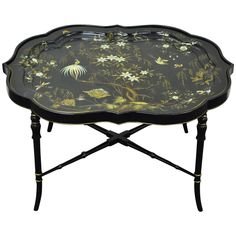 English Scalloped Papier Mâché Hand-Painted Tray on Faux Bamboo Table Stand | From a unique collection of antique and modern tray tables at https://www.1stdibs.com/furniture/tables/tray-tables/