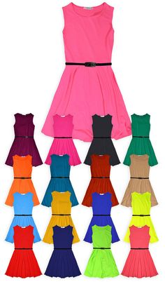 Girls Skater Dress Kids Party Dresses Belted New Age 7 8 9 10 11 12 13 Years