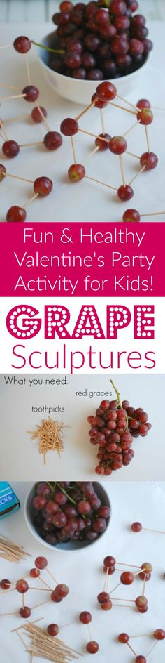 Grape Sculptures make a simple and healthy class party activity. This was a BIG hit with my son's first grade class!