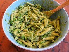 Penne with Ramp Pesto, Asparagus & Peas    Can't wait for ramp and asparagus season