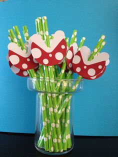 Super Mario Brothers Piranha Plant Paper Straws by CharminglySassy, $14.00