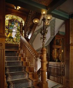 Newel post lamp - foter victorian victorian stairs, victorian home decor, v Victorian Stairs, Victorian Home Decor, Victorian Interiors, Victorian Architecture, Beautiful Architecture, Victorian Gothic, Victorian Homes, Architecture Details, Interior Architecture