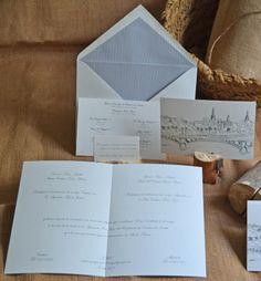 Invitaciones de boda personalizadas, con forros de mil rayas para sobres by Silvia Galí. www.silviagali.com