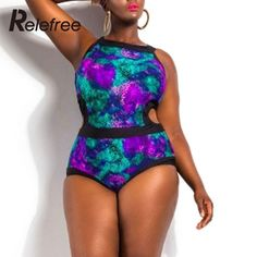Trendy Brand Bikini Printed Hollow Plus Size Swimsuit One-piece Bathing Suit