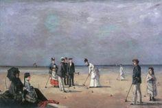 :Louise Abbéma - A Game of Croquet  Juego de cróquet (1872) Colección Tremaine Arkley, Oregón.