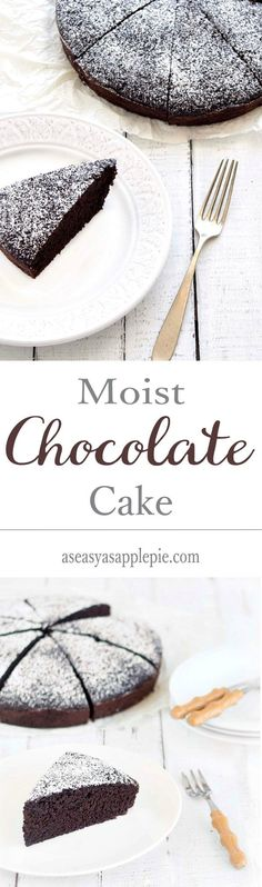 A no butter, no eggs, soft, moist, and rich chocolate cake. You only need two bowls and a wooden spoon to make this easy dessert from scratch.|vegan|vegetarian