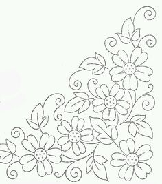 Colour it, sew it, trace it, etc. borders flower embroidery or redwork Embroidery Flowers Pattern, Hand Embroidery Designs, Applique Patterns, Ribbon Embroidery, Flower Patterns, Cross Stitch Embroidery, Beginner Embroidery, Embroidery Ideas, Mexican Embroidery