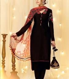 Buy Black cotton embroidered semi stitiched salwar with dupatta cotton-salwar-kameez online