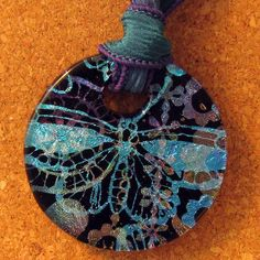Dichroic Butterfly Pendant Donut Pendant Fused Glass Pendant Fused Glass Jewelry Glass Jewelry Glass Pendant on Etsy, $45.00