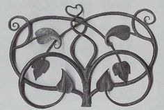 Samuel Yellin  Vine Fragment, 1915  forged wrought iron  14 1/2 x 10 1/2 x 1 1/2