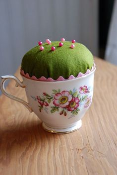 Great idea for teacups without saucers. :) >>> Teacup pin cushion