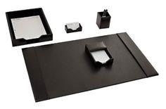 Dacasso Black Bonded Leather Desk Set, 5-Piece