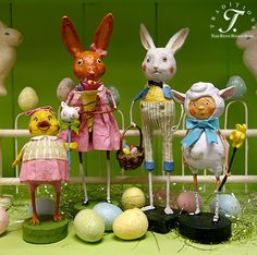Lori Mitchell's Easter Rabbits, Chicks and Lamb is the perfect folk art to decorate your home for Spring or Easter!