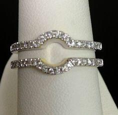 Solitaire Enhancer Diamonds Ring Guard Wrap 14k White Gold Wedding Contour Band