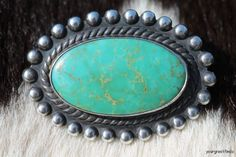 Old Navajo Sterling Silver & Natural Green Turquoise Satellite Train Station Tourist Pin C. 1930.