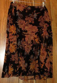 Woman's Ralph Lauren Full Silk Floral Black Skirt Lined Size 12 Below the Knee #RalphLauren #FullSkirt