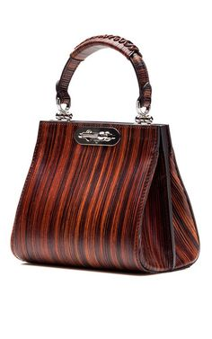 Wood Effect Leather Mini Doriana Top Handle Bag by BERTONI1949 Now Available on Moda Operandi