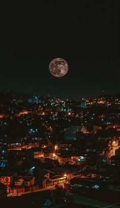 The moon as seen from Baguio City, Philippines. City Lights Wallpaper, Night Sky Wallpaper, Lit Wallpaper, Scenery Wallpaper, Iphone Wallpaper Tumblr Aesthetic, Black Aesthetic Wallpaper, Aesthetic Backgrounds, Aesthetic Wallpapers, Night Aesthetic